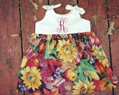 Girls thanksgiving outfit, monogrammed harvest dress, baby girls gift, fall outfit, fall photoshoot, sunflower, personalized, coming home