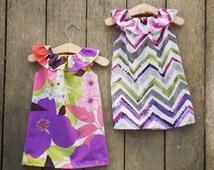 Floral Ruffle Neck Beach Dress, chevron, baby girls, Easter dress, purple, spring dress, boho summer dress, shelby jane, coordinating dress