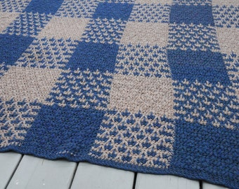 Vintage Crocheted Squares Afghan Blue Tan Throw