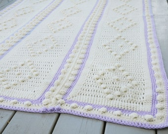 Vintage Afghan Lavendar Purple and Cream Throw Handmade