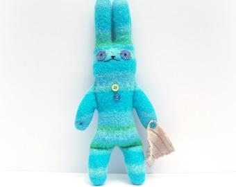 Stuffed Bunny Rabbit, Rabbit Toy, Wool Bunny, Upcycled Toy, Handmade Bunny, Eco Friendly Plushie