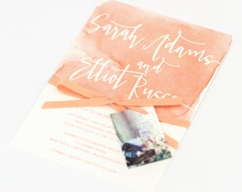 Watercolor Wedding Invitations - Coral Ombre Modern Design with Unique Watercolor Pattern Wedding Invitation (Sarah Suite)