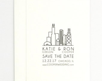 Wedding Save the Date - Modern Elegant Architectural Big City Silhouette – Chicago, New York, San Francisco - Save the Date (Katie Suite)
