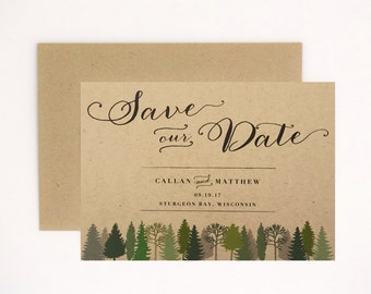 Woodsy Wedding Save the Date - Rustic Intimate Outdoorsy Wedding – Nature Birch Wood Romance Wedding Save the Date (Callan Suite)