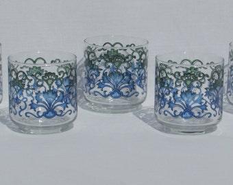 Set of Five 5 Julice Glasses - Blue and Green Scolling Floral Glasses - Vintage Colored Glassware - 8 oz