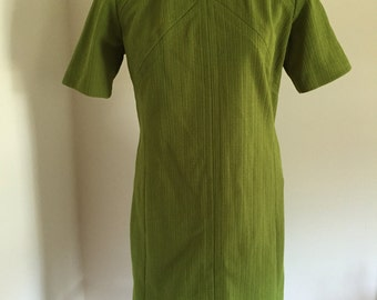 Olive Green Textured A-Line Space Age Mod Knit Dress M L