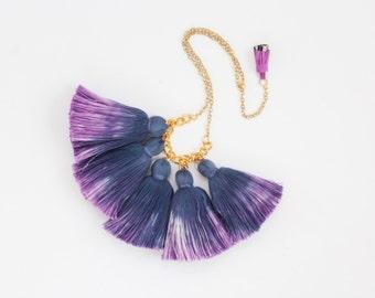 SALE / Five tassel necklace-cotton tassel jewelry-ombre tassel necklace-tassel-tiedyed hand colored ombre-purple navy gold metal/WAVES 9
