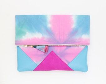 Dyed cotton clutch bag. Fold over clutch. Leather handbag. Geometric purse. Hand colored. Natural leather. Colorful handbag. /FESTIVE 22