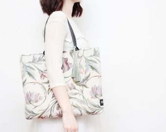 Sale / 25% off EMMA 3 / Simple tapestry fabric tote with leather tassels / market tote bag - Ready to Ship