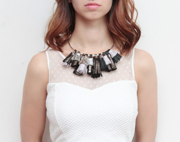 SALE/ WILD ONES 2 / Black white necklace-natural leather necklace-gifts for her-tassel jewelry-necklae sale -  hoop necklace - Ready to Ship