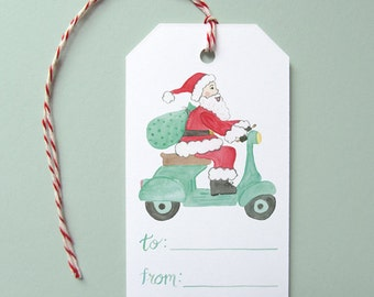 Holiday Gift Tags, Set of 10 Gift Tags, Santa Riding Vespa Gift Tags, Santa Claus Gift Tags, Vespa Gift Tags, Cute Holiday Gift Tag, Santa