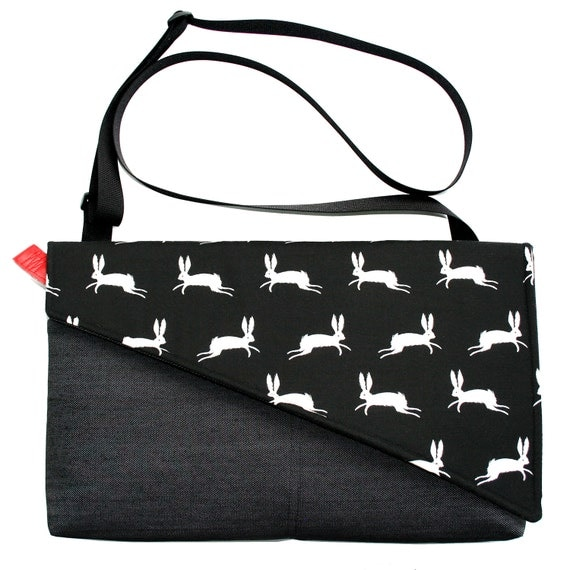 Bunnies, black and white, Messenger bag, cross body bag