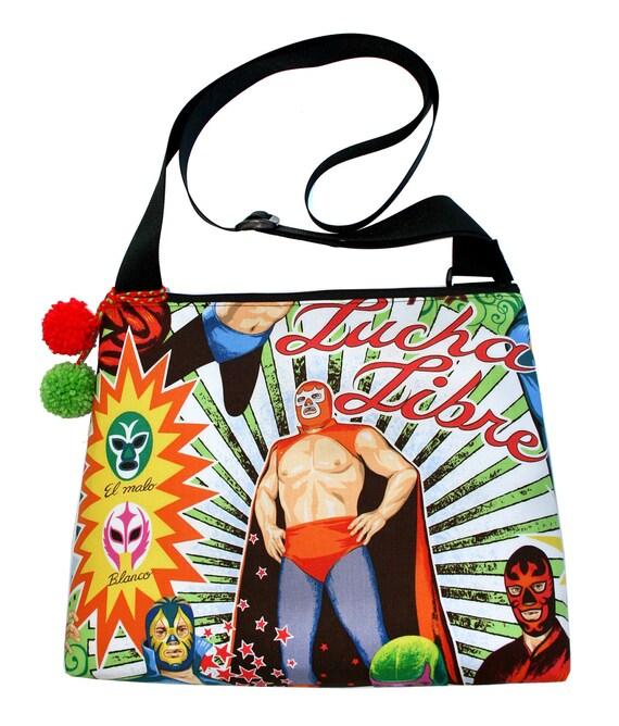 Luchador, Lucha Libre, Mexican Wrestler, pom poms, cross body, zipper top