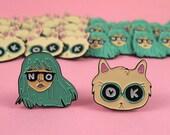 BFF pin set - I like Cats - AndSmile - Cat enamel pin - Cat lapel pin - lapel pin - enamel pin - sassy girl - Pin set - idgaf - Cats