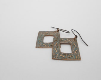Square Copper Earrings, Blue Green Aged Copper, Patina