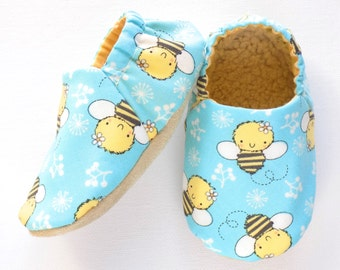 Bumble Bee Baby Girl Shoes, 6-12 mos. Baby Booties, Baby Girl Soft Shoes, Slip On Baby Shoes, Baby Girl Gift