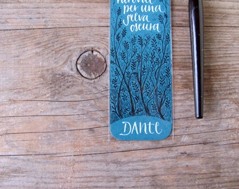 Dante Alighieri - The Divine Comedy - teal bookmark,  selva oscura MADE TO ORDER