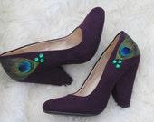 Plum Dark Purple Chunky Heels 7