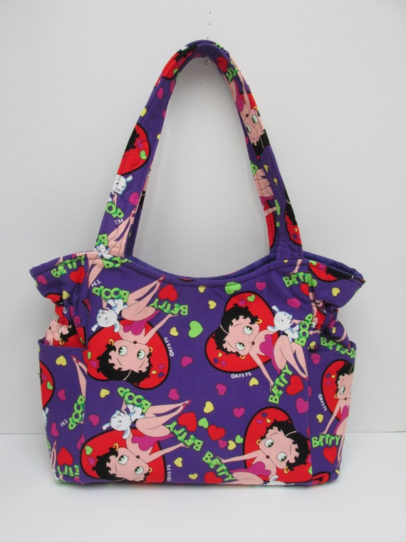 fabric purple medium betty boop shoulder bag by justbeautiful161. Black Bedroom Furniture Sets. Home Design Ideas