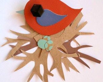 Leather Bird Brooch - Bird Brooch - Little Swift Bird Brooch - Cute Bird Brooch - Handmade Bird Brooch - Orange and Blue Bird
