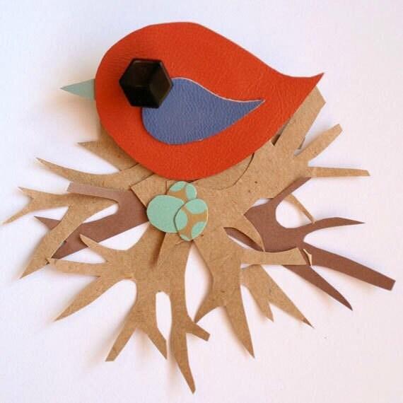 Leather Bird Brooch - Bird Brooch - Little Swift Bird Brooch - Cute Bird Brooch - Handmade Bird Brooch - Orange and Blue Bird