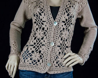 Beautiful and warm crochet lace  jacket blaze cardigan. Made with Merino Wool. Free gift wrapping availalbe.