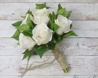 Silk Rose Bouquet, Ivory Rose Bouquet, Wedding Bouquet, Fall Wedding Bouquet, Ivory Wedding Bouquet, Silk Flower Wedding Package