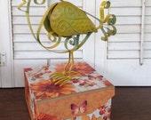 Metal Feet Tin Bird - Yellow French Scrolled Metal Bird