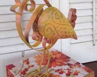 Metal Feet Tin Bird - Marigold French Scrolled Metal Bird