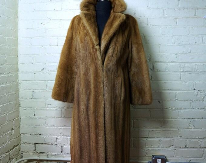 Autumn Haze Mink Coat Vintage Natural Ranched Mutation American Mink Fur SMALL Pastel Light Brown Stroller Jacket Golden Tone Knee Length