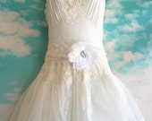 ivory & white alencon lace appliqué chiffon tulle princess wedding dress by mermaid miss k