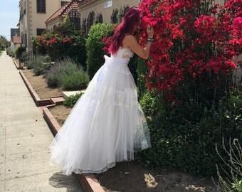soft white tulle & eyelash lace vintage boho wedding dress by mermaid miss Kristin