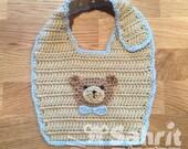 PATTERN Instant Download Crochet Bear Bib Teddy Baby One Size