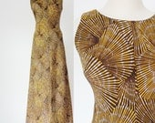 Vtg 60s AFRICAN Style PSYCHEDELIC Brown & Yellow Print Maxi Dress with SPORTY White Piping, Small to Medium