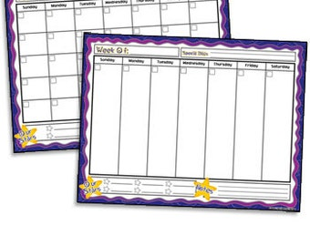 Month and Week Calendar Set Downloadable no shipping.