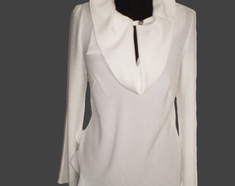 Cream White long sleeve blouse tunic of fine viscose White Tunic Dress White Blouse Cotton Top