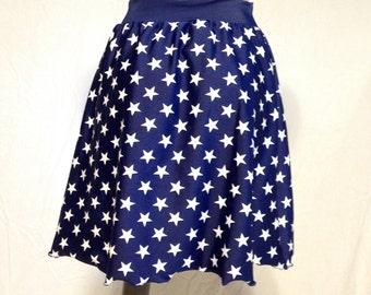 Stretch Wonder Woman A-line skirt. Navy blue