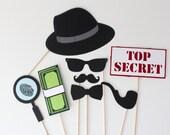 James Bond Spy Photo Booth Props - Inspector Detective 8 Piece Secret Agent Photobooth Prop Set