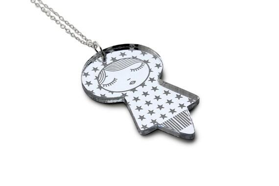 Stars doll necklace - Japanese doll pendant - kawaii kokeshi jewelry - cute matriochka jewellery - lasercut silver mirror acrylic
