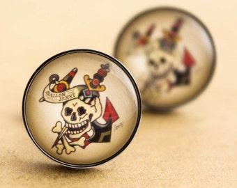 Sailor Jerry Cufflinks - Stainless Steel Mens Nautical Skull Cuff Links Vintage Rockabilly Silver