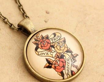 Sailor Jerry Necklace - Rockabilly True Love Forever Tattoo Cabochon Pendant Valentines