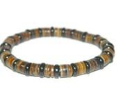 Bracelet For Men, Brown And Black, Stretch Bracelet