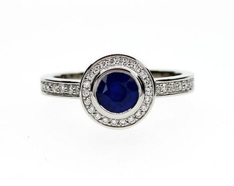 Blue sapphire halo engagement ring, diamond ring, white gold ring, bezel engagement, sapphire halo, blue, diamond ring, vintage style