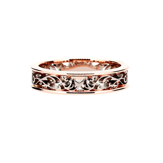 Two Tone Filigree Wedding Band With Rose Gold Bands Yellow