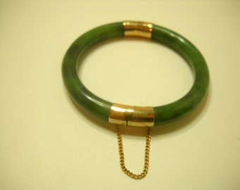 Vintage Jade Bangle Bracelet (4404) With Safety Chain