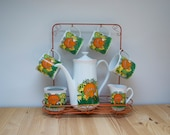 Vintage coffee pot set mushrooms and butterflies