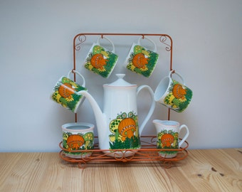 Vintage coffee pot set mushrooms and butterflies