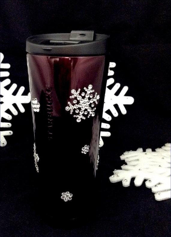 Starbucks Swag w/ Swarovski Crystal 12 & 16 oz Collector Christmas Holiday Stainless Travel Coffee Tea Cup Tumbler Snowflake Rhinestone Gift