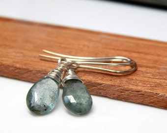 Sterling aquamarine jewelry, birthstone gift March birthday, gift for her