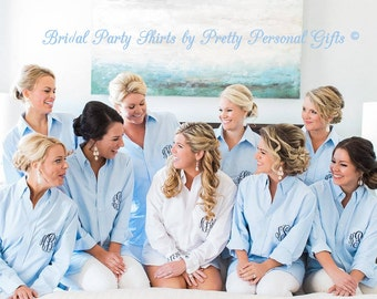 Personalized Bridal Party Shirt  -  Monogrammed Button Down Getting Ready Shirt